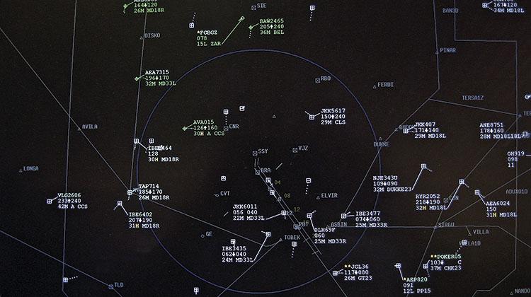 PANTALLA SACTA. El sistema SACTA determina las rutas y perfiles de vuelo, identifica la posición de las aeronaves y asegura su separación en el espacio aéreo.