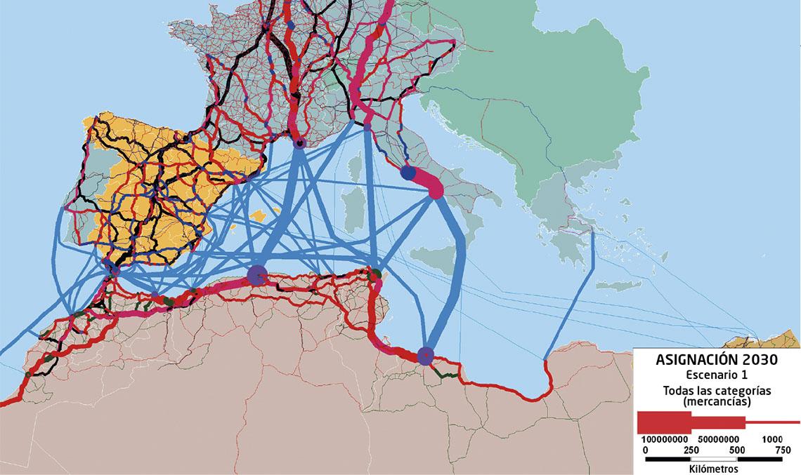 Modelo de previsión de tráfico sobre el enlace fijo del Estrecho de Gibraltar realizado con el software de macrosimulación TransCAD.